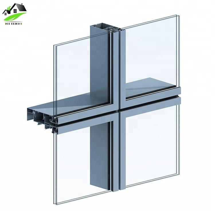 waterproof exterior aluminium frame structural double tempered glazing Unitized Glass Curtain Wall system
