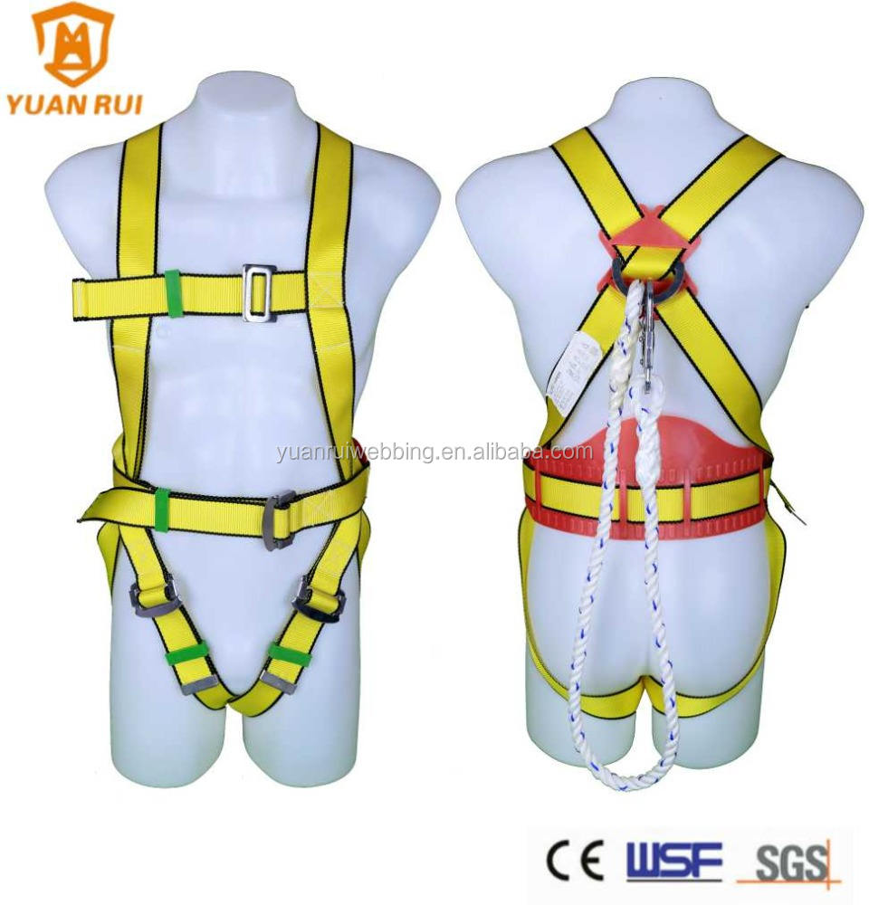 23kn [ Fall Harness Safety Full Body ] Good Quality Safety Harness Fall Protection Multi-Purpose Construction Harness Safety With 4 D-Rings Full Body Harness Water Repellent Webbing Adult Unisex