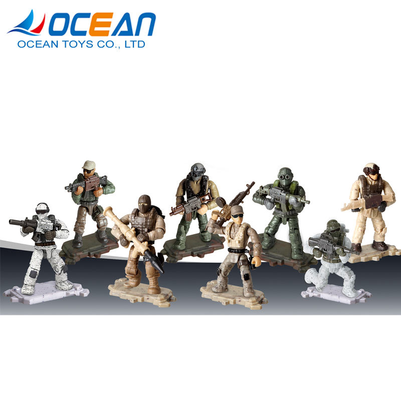 Boys pretend mini military base building block 8pcs plastic toy soldier with gun