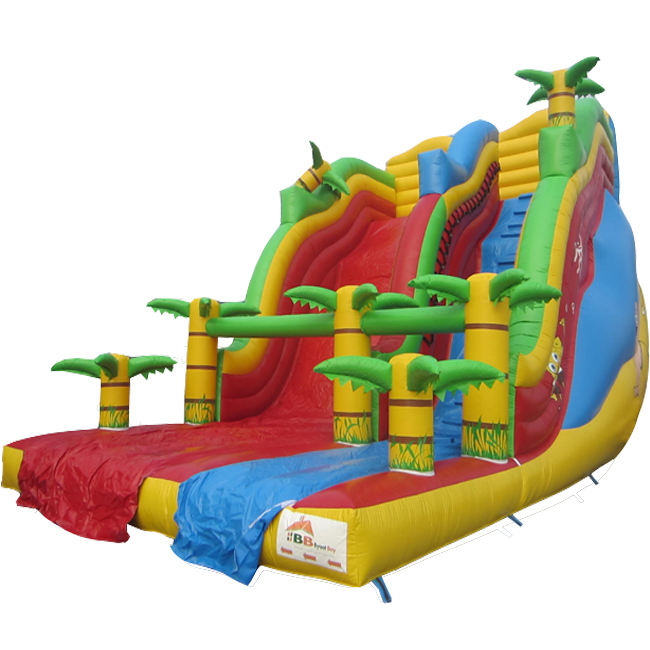 Colorful jungle theme giant inflatable slide outdoor children inflatable bouncy slide for children