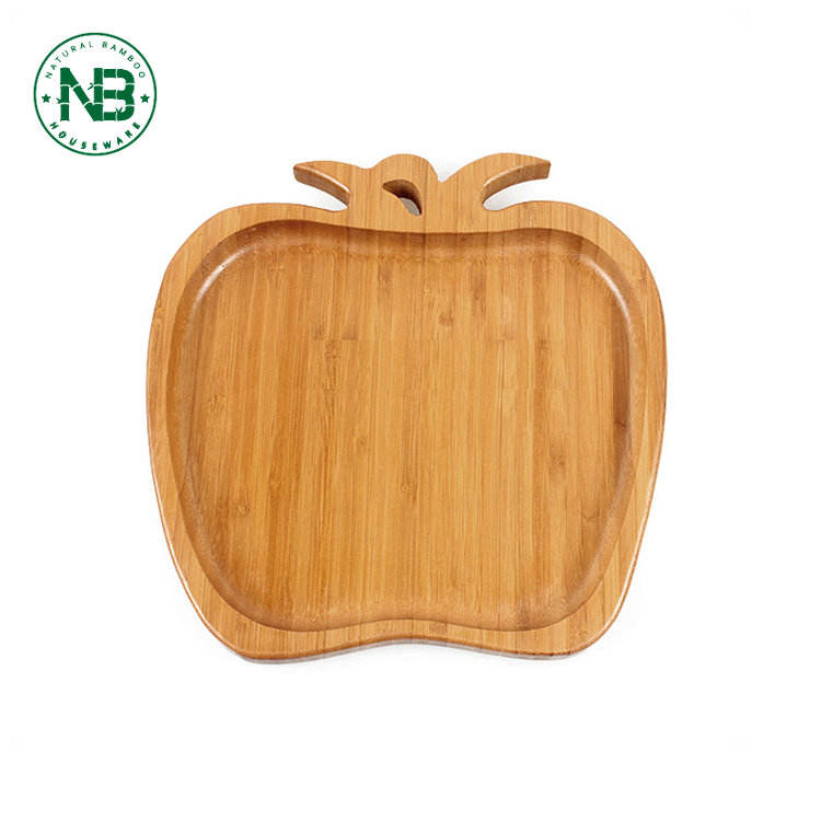 Bamboo [ Tray Fruit Plate ] Bamboo Serving Plate Apple Shape Design Picnic Serving Tray Fruit Dish Bamboo Fruit Plate