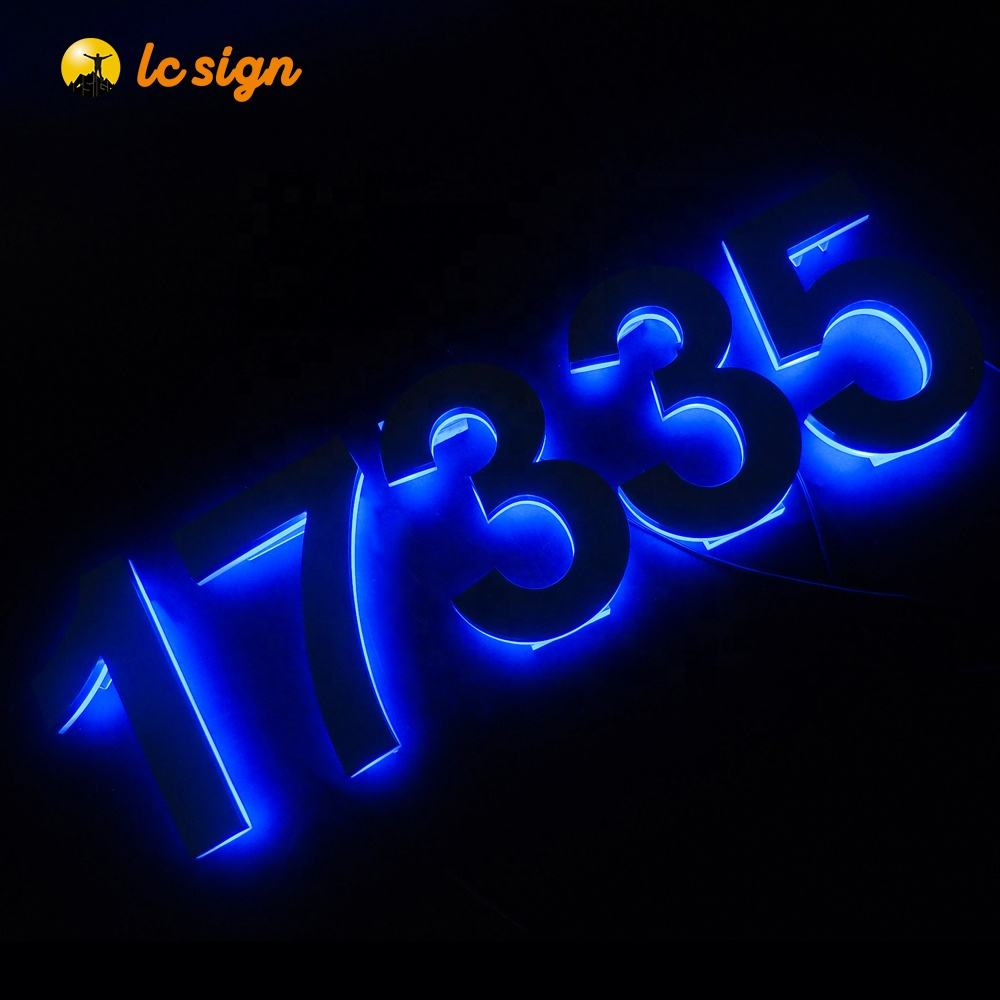 high brightness backlit stainless steel letter led house door number sign