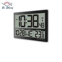 LCD digital wall clock Radio controlled clock temperature clock