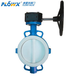 Fully lined PTFE Resist corrosion Manual Hand lever Wafer Butterfly Valve for hydro fluoric acid phosphoric acid