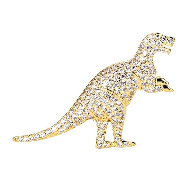 X1808282 xuping jewelry animal dinosaur brooch pins, alloy 14k gold plated micro pave brooch