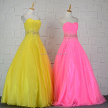 Yellow Beaded Strapless 2018 Ball Gowns Fat Women Special Occasion Dresses Designer Lady Evening Dress