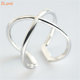 Korean style fashion jewelry Cross X shaped 925 sterling silver adjustable cuff ring women simple finger rings wholesale