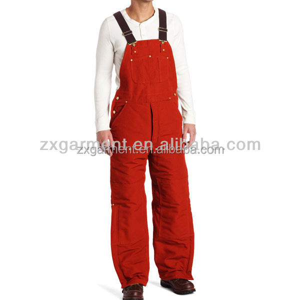 TC fabric men's red bib overalls