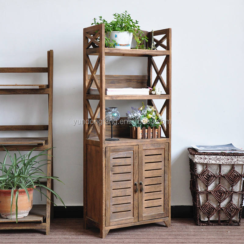 Home furniture antique cheap wood cabinet with racks and shutter doors