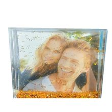 Silver Glitter Photo Frame magnetic acrylic frame snow globe photo frame
