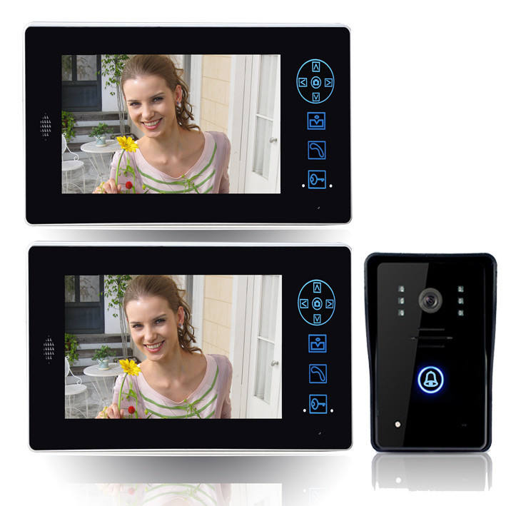 7'' Wireless Video Door Phone Audio Visual Intercom 1 Night Vision Door Bell Camera 2 Monitors