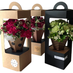 High quality customized kraft/card paper flower basket flower gift box packaging flower boxes