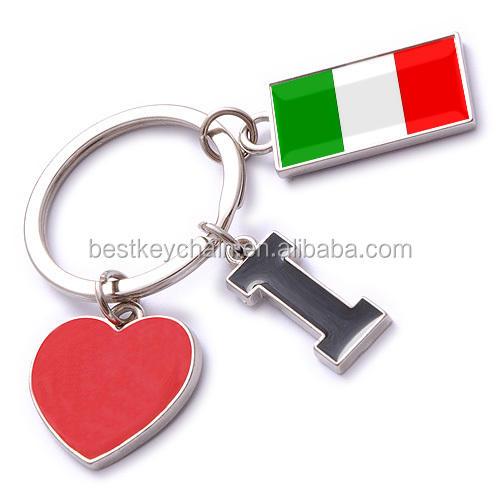 Leather Keyring Engraved Sardinia Region Italy Flag