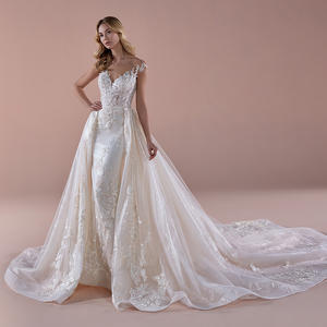 Eslieb A62 hot sale detachable skirt ivory backless chapel train sleeveless wedding dress ball gown