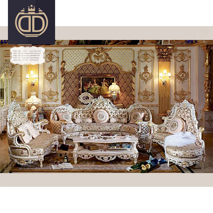 living room noble sofa set antique 6 seater sofa hand carved empire royal furniture Victorian style sofa set