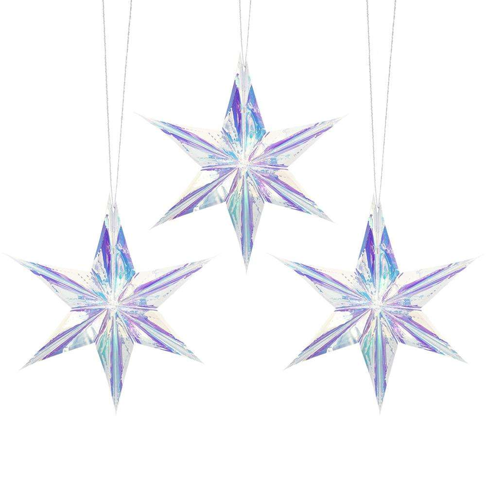 Nicro 2019 New Product Six Pointed Star Iridescent Rainbow Film Paper Hanging Decoration