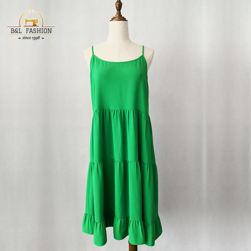 Summer rayon dress women green tiered crepe sundress for ladies casual dress