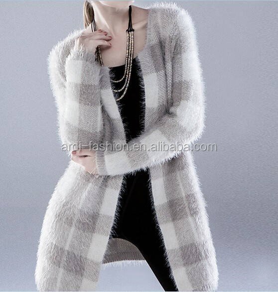 western lady women extra long maxi mohair cardigan sweater