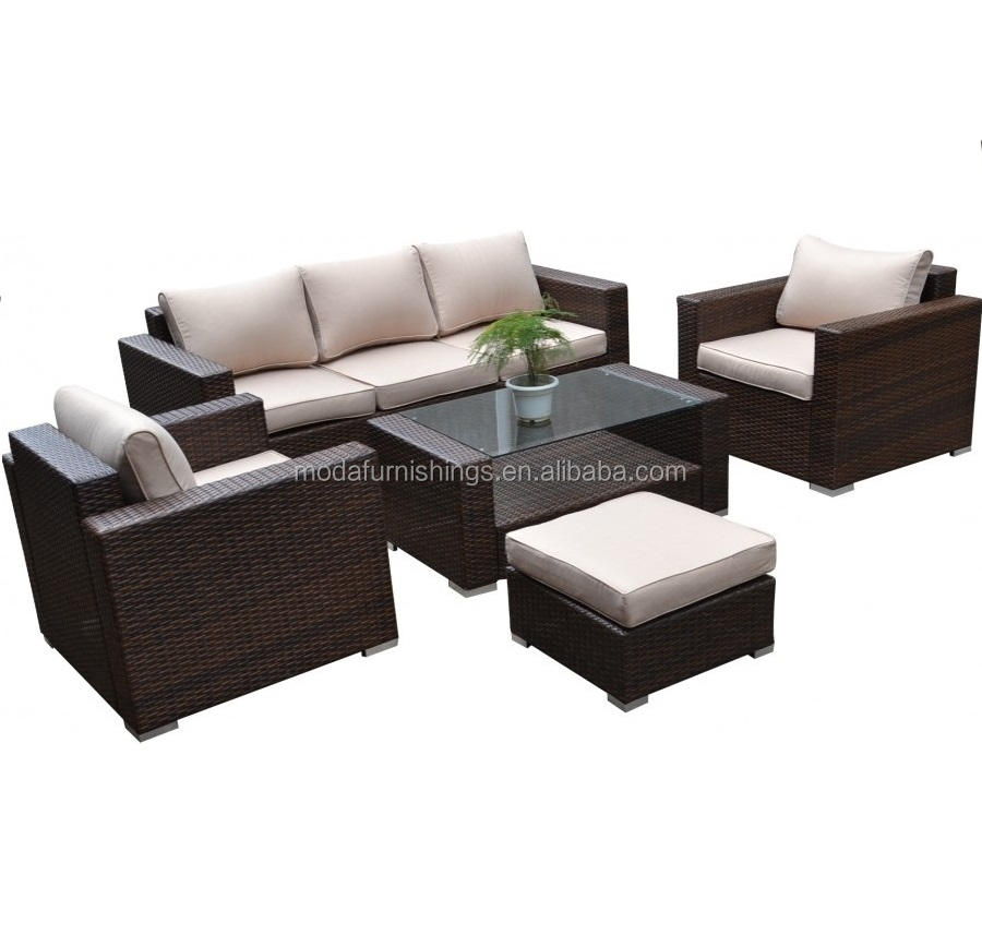 5PC Detachable Outdoor Wicker Furniture Patio Rattan and Garden Sectional Sofa Set with Ottoman