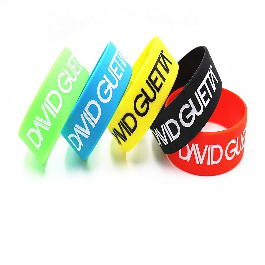1 inch debossed color filled david guetta silicone bracelet india hot selling bands