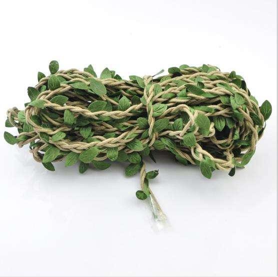 10m künstliche Blume Rebe geflochten Hanf Seil Kranz Garland Green Leaf Dekor