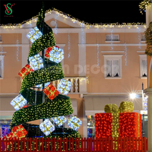 China Customize New Products Large Epistar Outdoor Giant Christmas Spiral Gift Box Tree Lights For Hotel