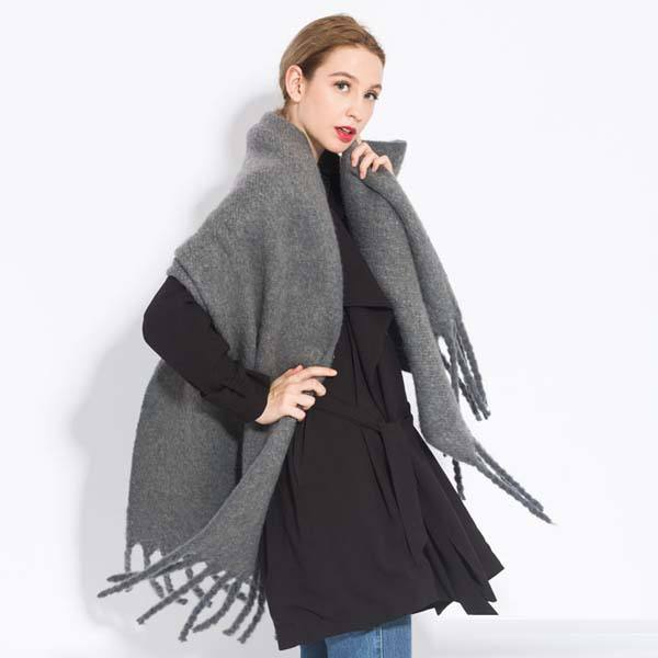 Wholesale Gray Color Wool Unisex Acrylic Plain Women Winter Scarf
