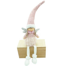 100CM Christmas Home Decoration Pink Fairy Elf Shelf Sitter Xmas Sitting Doll Girl Little Angel With Wings