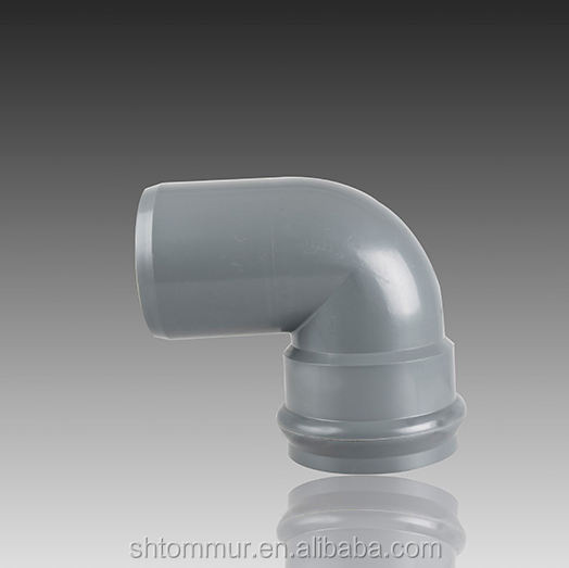 DIN UPVC rubber joint pipe fittings 90 degree bell and spigot elbow