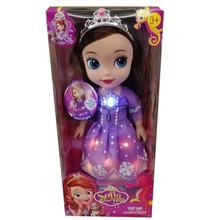 New Arrival 14 Inch Vinyl Soft Kid Toy With Luminous Skirt Led Lighting Dress Musical Toys Princess Sofia Doll For Girl