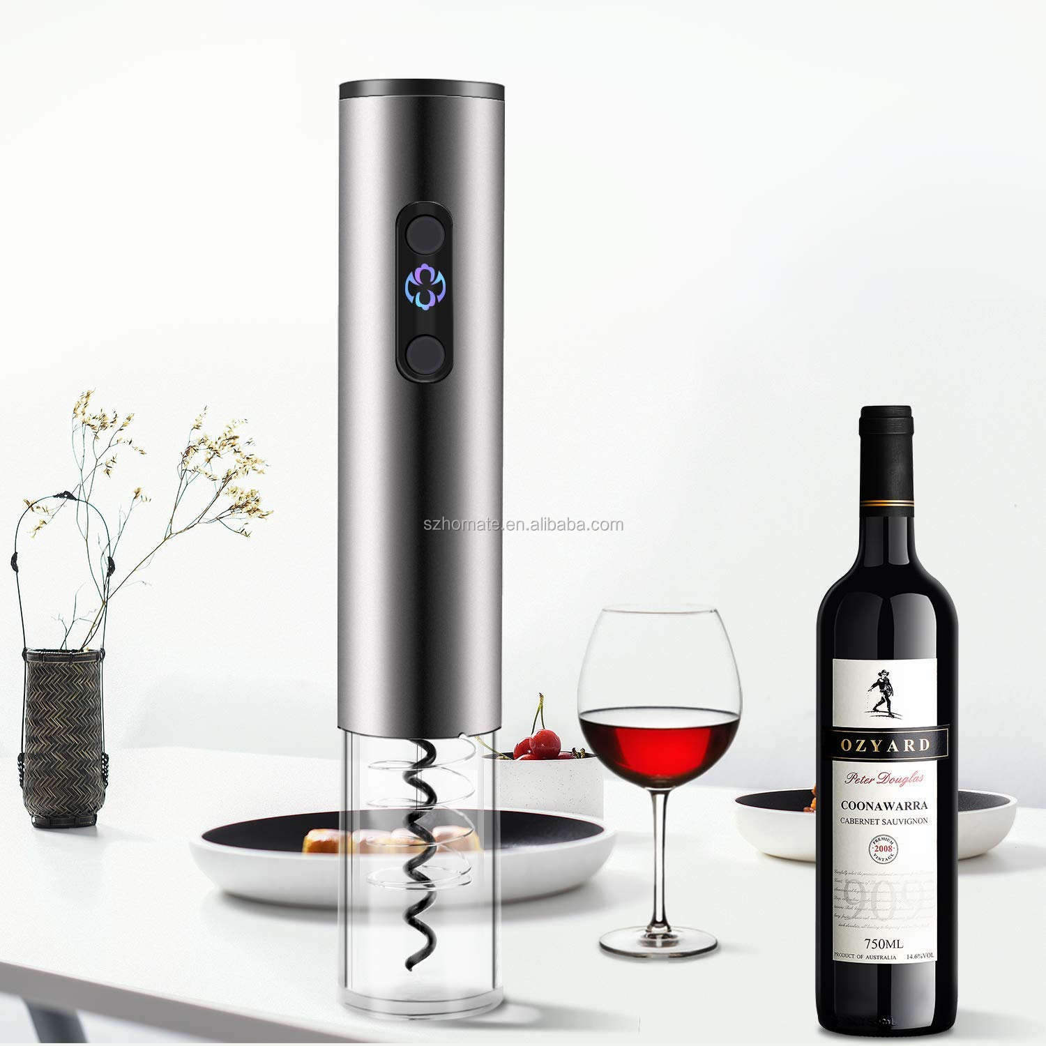 Electric Wine Opener Automatic Corkscrew Battery Bottle Openers Kit with Accessories Vacuum Stopper Pourer Foil Cutter