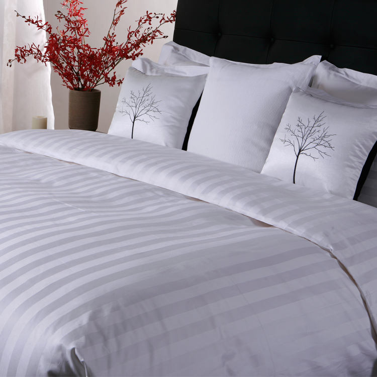 wholesale satin stripe hotel linen bridal bedding sheet