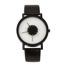 Fashion students watch new turntable personality creative belt lovers black and white simple watch