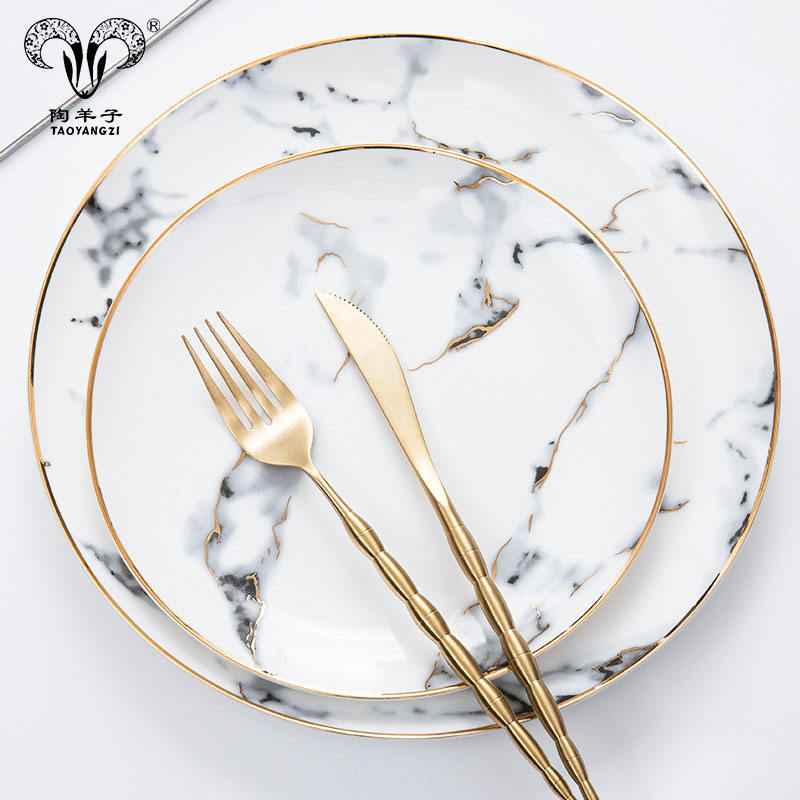 Luxury elegant ceramic dinnerware Hihg quality Bone China God rim marble porcelain dinnerware