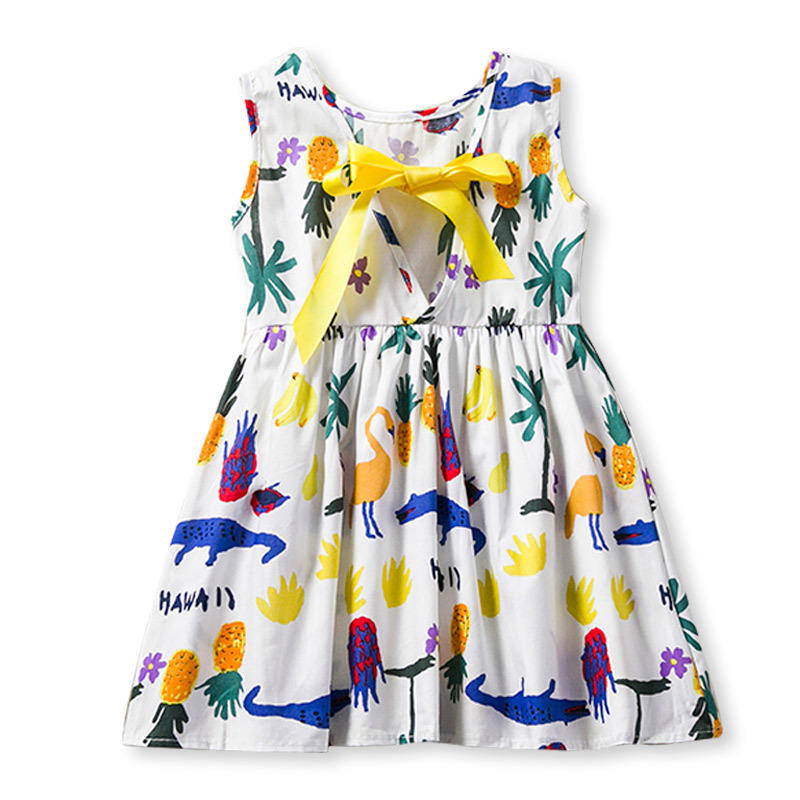 New kids dress graffiti fruit animal pattern summer girl dress