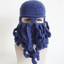 Halloween Funny octopus hat autumn and winter hip hop tide men and women creative masked knitted wool hat