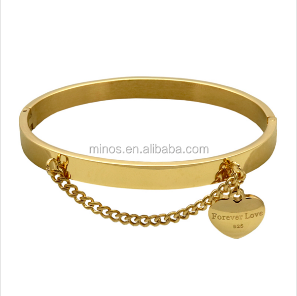 New Arrival Heart Pendants Bracelet Gold Plate Bangle Jewelry