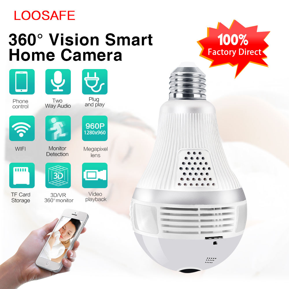 2019 Newest 1080P 360 Degree VR Panoramic 3 PCS LED Mobile Remotely Bulb Wireless Security IP Camera