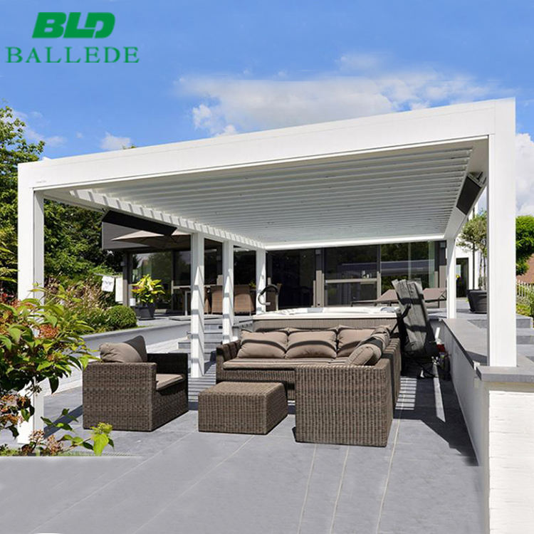 Fully automatic retractable sliding and folding waterproof terrace roof aluminum pergola outdoor
