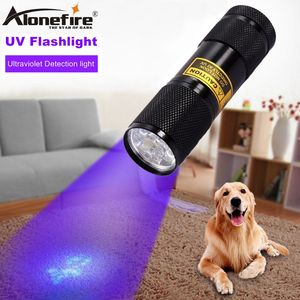 ALONEFIRE 9 Led 395nm Ultra violeta luz de flash perro gato orina Hotel Detector de UV Mini linterna de la lámpara batería AAA