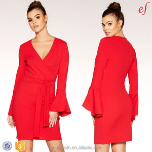 New Style 2018 Ladies Mini Dress Long Bell Sleeve Women Bodycon Wrap Party Dress