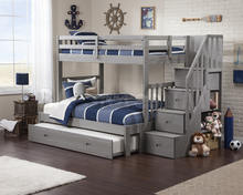 popular pine white natural and brown color bunk bed