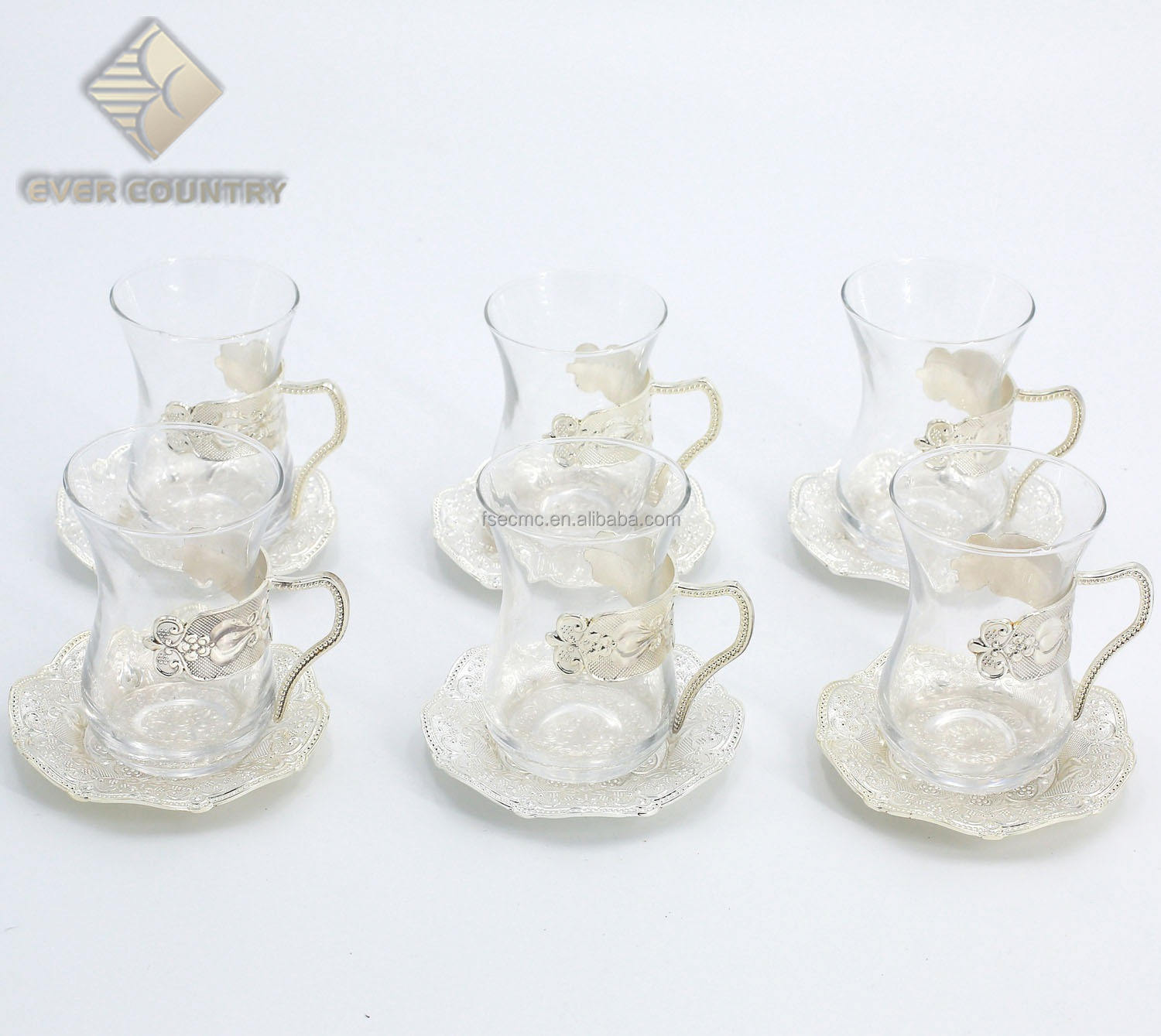 Set for 6 Turkish Style Metal Gold Plated Tea Cups Set With Saucer
