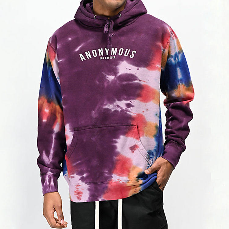 China manufacture wholesale men fashion fleece pullover hoodies all over tie dye hoodie