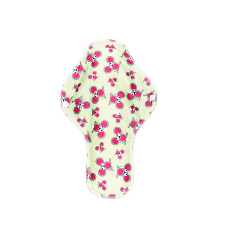 Waterproof Print night time use women Reusable wing sanitary Pads in 5 layers bamboo charcoal reusable menstrual pads