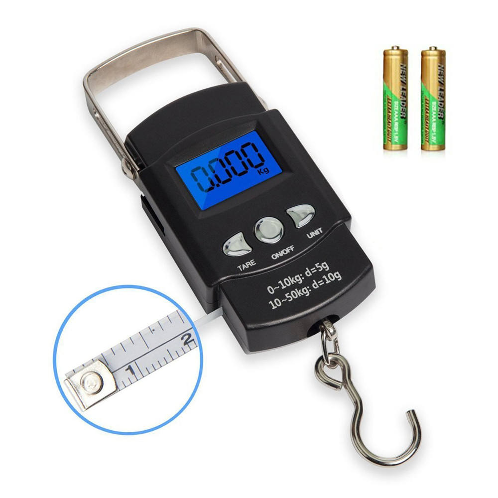 Digital Luggage Fish Scale Hanging Portable Digital Weight Electronic Travel Scale 110lb/50kg with a Tape Measure for Tackle Bag
