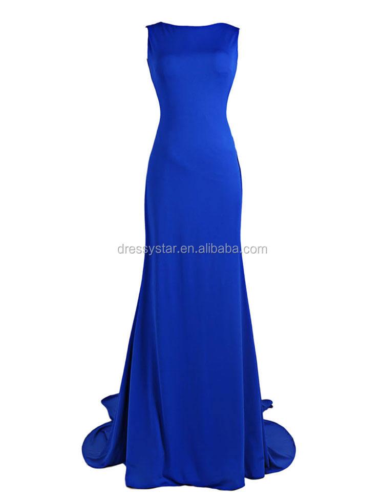 Fabuloso diseño simple largo formal backless vestido de noche con tren