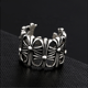 Crosswork of index finger ring hollowed out retro Thai silver open ring for men and women's hand ornaments