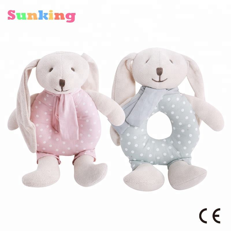 baby educational toys baby rattle rabbit linen fabric bunny hand bell