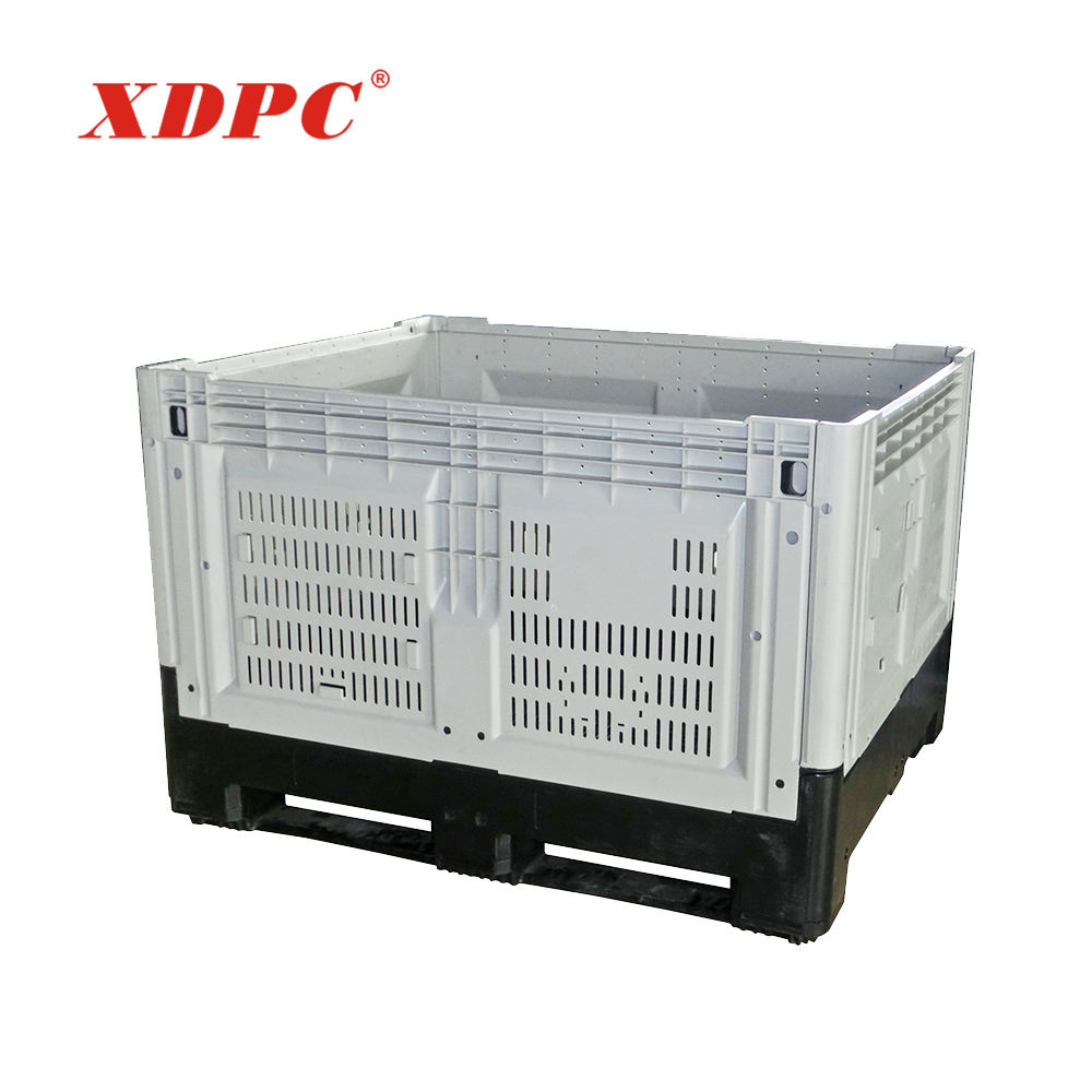 Industrial stackable vented collapsible moving transport plastic crate for sale